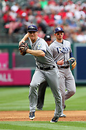 May 20, 2018 - Anaheim, CA, U.S. - ANAHEIM, CA - MAY 20: Joey Wendle (18) of the Rays fields a ground ball and then makes the throw over to first base for the out during the major league baseball game between the Tampa Bay Rays and the Los Angeles Angels on May 20, 2018 at Angel Stadium of Anaheim in Anaheim, California. (Photo by Cliff Welch/Icon Sportswire) (Credit Image: © Cliff Welch/Icon SMI via ZUMA Press)