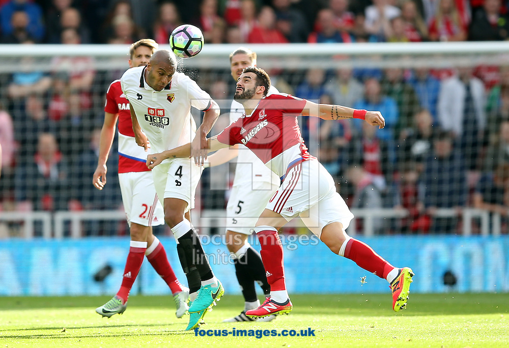Alvaro Negredo of Middlesbrough and Younes Kaboul of Watford during the Premier League match at the Riverside Stadium, Middlesbrough<br /> Picture by Christopher Booth/Focus Images Ltd 07711958291<br /> 16/10/2016