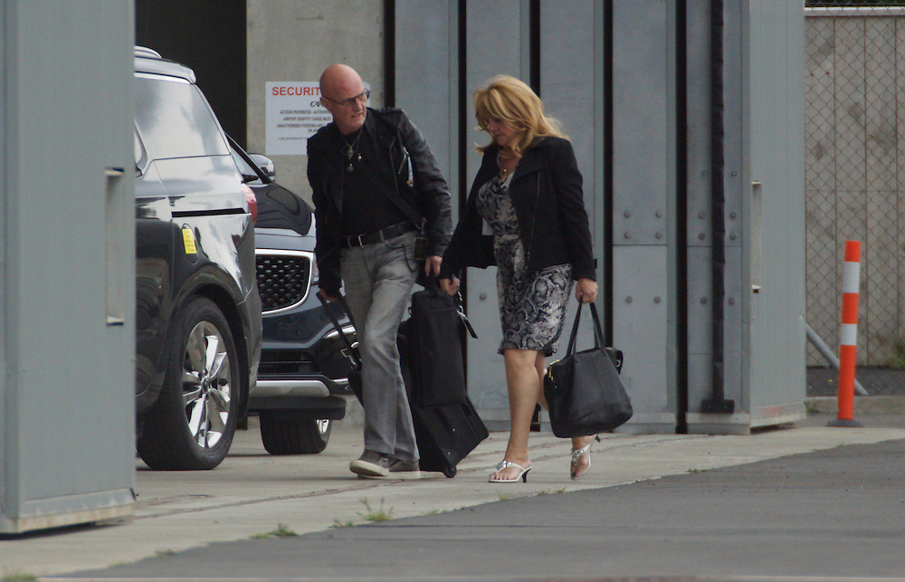 Rock group AC/DC arrive fvia the Wellington Airport Executive hangar to waiting fans for their concert at Westpac Stadium, New Zealand, Friday, December 11, 2015. Credit:SNPA / Derek Quinn