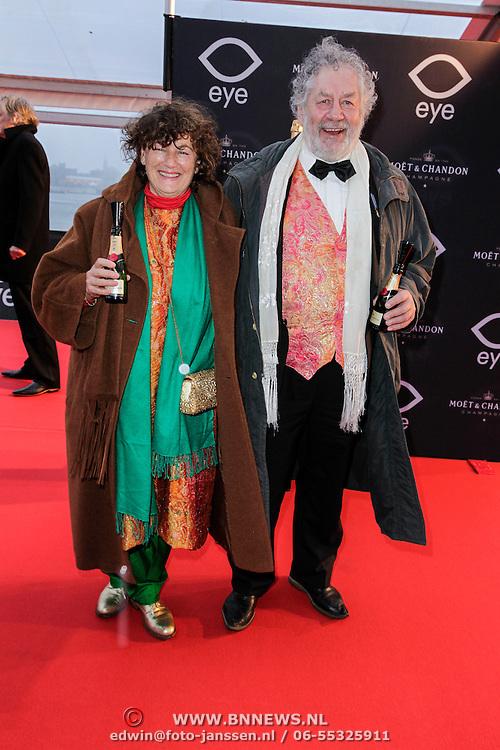 NLD/Amsterdam/20120404 - Opening filmmuseum Eye, Chiem van Houweningen en partner Marina de Vos