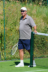 &copy; Licensed to London News Pictures. <br /> The Championship Wimbledon 2017 Wimbledon, UK. 02 07 2017<br /> CAPTION:   Andy Murray practice session on the Aorangi Park court 15 at Wimbledon the day before the start of the 2017 Championship. Coach Ivan Lendl seen smiling.<br /> Photo credit: Peter van den Berg/LNP