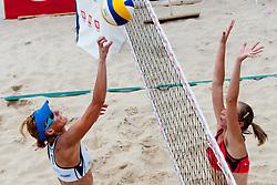 Andreja Vodeb vs Jelena Strel Kosmac at Zavarovalnica Triglav Beach Volley Open as tournament for Slovenian national championship on July 30, 2011, in Kranj, Slovenia. (Photo by Matic Klansek Velej / Sportida)