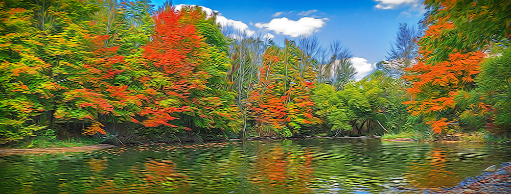 Autumn foliage with creek reflection, Alum Creek State Park, Ohio. Painted effects blended with original photograph.