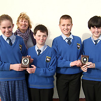 Moveen N.S. winners of the Under 13 Credit Union Primary Schools' Quiz held last Sunday in Kilrush Community School. ÊThe team now advance to the next stage, which will be held in Limerick. ÊTeam includes (from left) Hannah Mc Loughlin, Sam Ryan, Enda Greene, Shane Talty, with School Principal, Assumpta Concannon.<br /> Moveen N.S. winners of the Under 13 Credit Union Primary Schools' Quiz held last Sunday in Kilrush Community School. The team now advance to the next stage, which will be held in Limerick. Team includes (from left) Hannah Mc Loughlin, Sam Ryan, Enda Greene, Shane Talty, with School Principal, Assumpta Concannon.