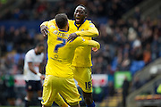 Toumani Diagouraga of Leeds United celebrates after scoring the second goal of the game with Mirco Antenucci of Leeds United during the The FA Cup fourth round match between Bolton Wanderers and Leeds United at the Macron Stadium, Bolton, England on 30 January 2016. Photo by Simon Brady.