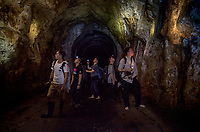 A group of herpers exploring an underground water catchment tunnel, Shek Pik (Chinese: 石壁), southwestern coast of Lantau Island, Hong Kong, China.<br /> This Image is a part of the mission Wild Sea Hong Kong (Wild Wonders of China).
