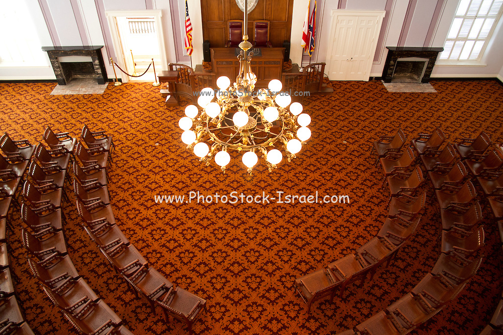 Interior of the Alabama state capitol legislative chamber, Montgomery, AL, USA