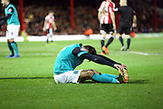 Ben MARSHALL cramp during the Sky Bet Championship match between Brentford and Blackburn Rovers at Griffin Park, London, England on 13 December 2014.