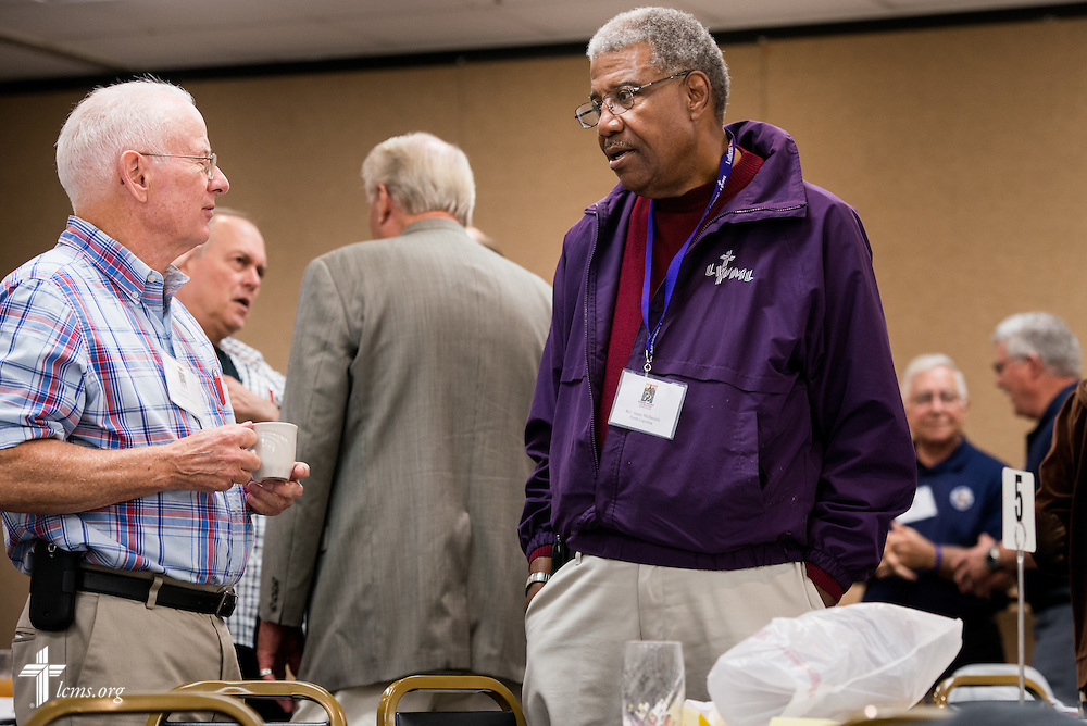 Dave Allen (left) chats with the Rev. James McDaniels during a break in activities at The 72 Witness & Outreach Team Training on Thursday, Sept. 11, 2014, at the National Shrine of Our Lady of the Snows in Belleville, Ill. LCMS Communications/Erik M. Lunsford