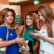 Marie Dawlatly, Christine Artwork and Mariam Michtawi attend the London Arabia Art & Fashion Week 2019 at Jumeirah Carlton Tower, on 5 August 2019, London, UK.