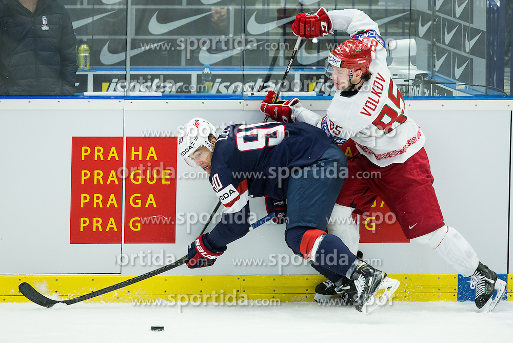 Anders Lee of USA vs Artyom Volkov of Belarus during Ice Hockey match between USA and Belarus at Day 7 in Group B of 2015 IIHF World Championship, on May 7, 2015 in CEZ Arena, Ostrava, Czech Republic. Photo by Vid Ponikvar / Sportida