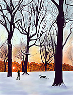A woman walks her dog in a snowy Prospect park, Brooklyn at sunrise.