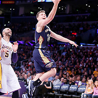 07 December 2014: New Orleans Pelicans guard Gal Mekel (24) goes for the layup during the New Orleans Pelicans 104-87 victory over the Los Angeles Lakers, at the Staples Center, Los Angeles, California, USA.