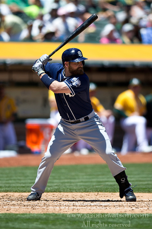 OAKLAND, CA - JUNE 18:  Derek Norris #3 of the San Diego Padres at bat against the Oakland Athletics during the fourth inning at O.co Coliseum on June 18, 2015 in Oakland, California. The San Diego Padres defeated the Oakland Athletics 3-1. (Photo by Jason O. Watson/Getty Images) *** Local Caption *** Derek Norris