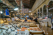 Fresh fish on ice at a stall at the Athens food market