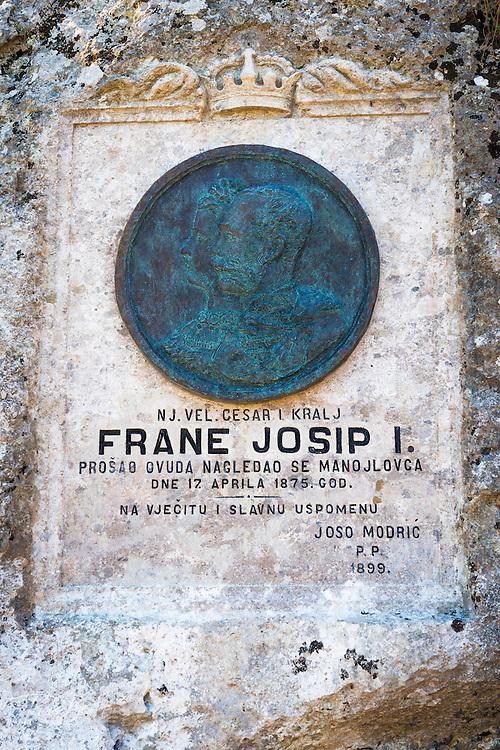 Tribute to Emperor Franz Joseph I visit (1875), Krka National Park, Dalmatia, Croatia