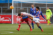 Carlisle United Defender Courtney Meppen-Walter makes a very difficult tackle during the Sky Bet League 2 match between Carlisle United and Stevenage at Brunton Park, Carlisle, England on 20 February 2016. Photo by Craig McAllister.