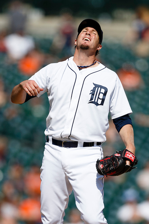 May 25, 2014; Detroit, MI, USA; Detroit Tigers relief pitcher Joe Nathan (36) reacts during the ninth inning against the Texas Rangers at Comerica Park. Texas won 12-4. Mandatory Credit: Rick Osentoski-USA TODAY Sports