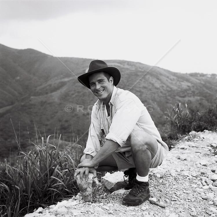 Man on a mountain range in California