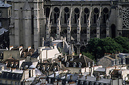 France. Paris. 5th district. Elevated view.  la cathedrale notre Dame  vue du Pantheon (ancienne abatiale Sainte Genevieve)
