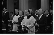 Mass For The 26th Dail.     (T3)..1989..29.06.1989..06.29.1989..29th June 1989..After the General Election  a mass took place today at the Pro-Cathedral in Dublin. The mass was to bless   the incoming TD's who were successful in their election to the Dáil...Image shows some of the members elected to the 26th Dáil. Image includes Alan Dukes TD, Charles Haughey TD, Mary O'Rourke TD, Albert Reynolds TD and Rory O'Hanlon TD. President Hillery is also pictured.
