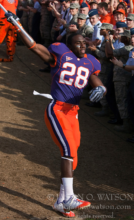 November 21, 2009; Clemson, SC, USA; Clemson Tigers running back C.J. Spiller (28) runs down the hill on senior day before the game against the Virginia Cavaliers at Memorial Stadium. Clemson defeated Virginia 34-21.