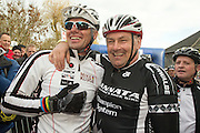 BELGIUM / BELGIQUE / BELGIE / CYCLOCROSS / VELDRIJDEN / CYCLO-CROSS / CYCLING / OVERIJSE / DRUIVENCROSS / GENTLEMEN RACE / FORMER GERMAN CYCLIST MIKE KLUGE AND BELGIAN FORMER CYCLIST ROLAND LIBOTON / START /