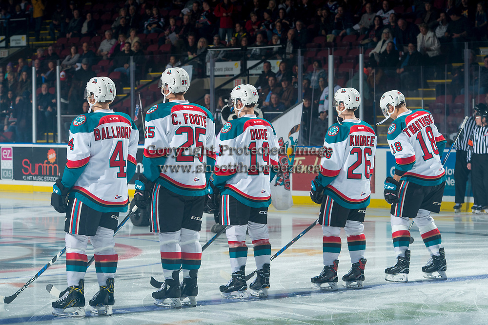 KELOWNA, CANADA - NOVEMBER 11: Gordie Ballhorn #4, Cal Foote #25, Dillon Dube #19, Liam Kindree #26 and Carsen Twarynski #18 of the Kelowna Rockets line up on the blue line as the starting line up against the Red Deer Rebels on November 11, 2017 at Prospera Place in Kelowna, British Columbia, Canada.  (Photo by Marissa Baecker/Shoot the Breeze)  *** Local Caption ***