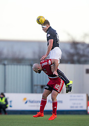 Falkirk's Peter Grant over Ayr United's Gary Harkins. Falkirk 1 v 1 Ayr United, Scottish Championship game played 14/1/2017at The Falkirk Stadium .