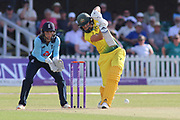 Ellyse Perry of Australia (8) driving the ball during the Royal London Women's One Day International match between England Women Cricket and Australia at the Fischer County Ground, Grace Road, Leicester, United Kingdom on 4 July 2019.