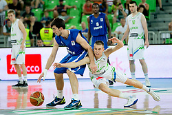 Klemen Prepelic of Slovenia vs Leo Westermann of France during basketball match between National teams of Slovenia and France in Quarterfinal Match of U20 Men European Championship Slovenia 2012, on July 20, 2012 in SRC Stozice, Ljubljana, Slovenia. (Photo by Matic Klansek Velej / Sportida.com)