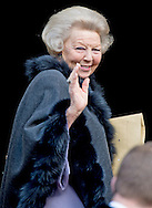 13-1-2015 AMSTERDAM - Princess  Beatrix arrive at the Palace at the Dam for the new year reception. COPYRIGHT ROBIN UTRECHT
