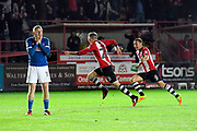 Stacey (28) of Exeter City celebrates scoring the winning goal to make the score 3-2 with Nicky Adams (10) of Carlisle United in despair during the EFL Sky Bet League 2 play off second leg match between Exeter City and Carlisle United at St James' Park, Exeter, England on 18 May 2017. Photo by Graham Hunt.