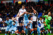 Bolton Wanderers defender Reece Burke (32), on loan from West Ham United, clears the corner during the EFL Sky Bet Championship match between Bolton Wanderers and Sunderland at the Macron Stadium, Bolton, England on 20 February 2018. Picture by Simon Davies.