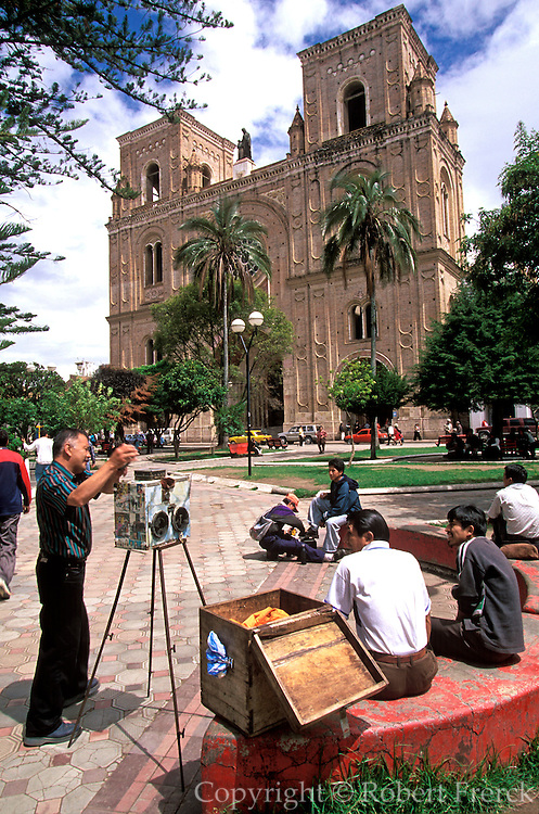 ECUADOR, CUENCA Cathedral and photographer