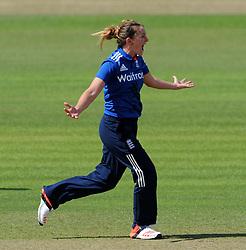 England's Kate Cross celebrates the wicket of Australia's Meg Lanning. - Photo mandatory by-line: Harry Trump/JMP - Mobile: 07966 386802 - 21/07/15 - SPORT - CRICKET - Women's Ashes - Royal London ODI - England Women v Australia Women - The County Ground, Taunton, England.