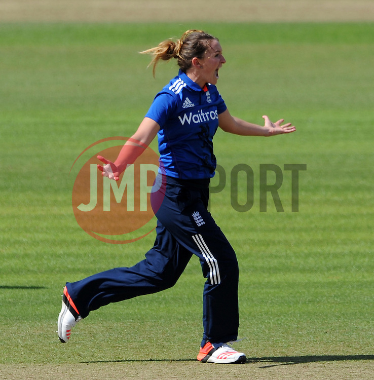 England's Kate Cross celebrates the wicket of Australia's Meg Lanning. - Photo mandatory by-line: Harry Trump/JMP - Mobile: 07966 386802 - 21/07/15 - SPORT - CRICKET - Women's Ashes - Royal London ODI - England Women v Australia Women - The County Ground, Taunton, England.