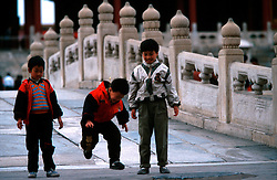 CHINA BEIJING APR99 - Three Chinese children play at the Imperial Palace, also known as the Forbidden City. ..jre/Photo by Jiri Rezac..© Jiri Rezac 1999..Contact: +44 (0) 7050 110 417.Mobile:  +44 (0) 7801 337 683.Office:  +44 (0) 20 8968 9635..Email:   jiri@jirirezac.com.Web:    www.jirirezac.com..© All images Jiri Rezac 1999 - All rights reserved.