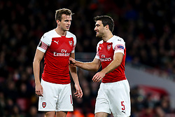 Sokratis Papastathopoulos of Arsenal and Rob Holding of Arsenal - Mandatory by-line: Robbie Stephenson/JMP - 08/11/2018 - FOOTBALL - Emirates Stadium - London, England - Arsenal v Sporting Lisbon - UEFA Europa League