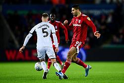 Aleksandar Mitrovic of Fulham is challenged by Mike van der Hoorn of Swansea City - Mandatory by-line: Ryan Hiscott/JMP - 29/11/2019 - FOOTBALL - Liberty Stadium - Swansea, England - Swansea City v Fulham - Sky Bet Championship