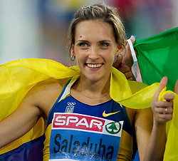 Winner Ukraine's Olha Saladuha celebrates after the women's triple jump final at the 2010 European Athletics Championships at the Olympic Stadium in Barcelona on July 31, 2010. (Photo by Vid Ponikvar / Sportida)
