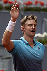 May 11, 2018 - Madrid, Madrid, Spain - Kevin Anderson of South Africa celebrates the victory in his quarter final match against Dusan Lajovic of Serbia during day seven of the Mutua Madrid Open tennis tournament at the Caja Magica on May 11, 2018 in Madrid, Spain  (Credit Image: © David Aliaga/NurPhoto via ZUMA Press)