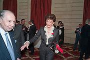 JACQUELINE DE RIBES; COUNT EDUARD DE RIBES, Legion d'honneur awards. Elysee Palace, Presidence. Rue du Faubourg. 50 Rue de la Bienfaisance. Paris. 07 April 2010