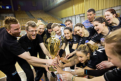 Aljosa Jemec, Gasper Ribic, head coach of Calcit Ljubljana and players celebrate after winning final match between Calcit Ljubljana and Nova KBM Branik Maribor in 1st DOL Women League 2015/16, on May 9, 2016, in Arena Tivoli, Ljubljana, Slovenia. OK Calcit Ljubljana became Slovenian Champions 2016. Photo by Vid Ponikvar / Sportida
