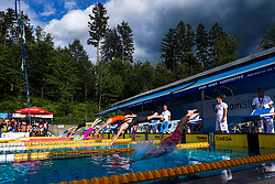 "Swimmers jumping into water during 43rd International Swimming meeting ""Telekom 2019"", on July 13, 2019 in Radovljica, Slovenia. Photo by Matic Klansek Velej / Sportida"