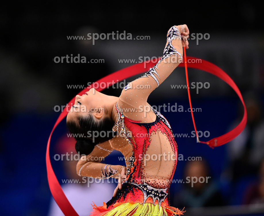 09.09.2015, Porsche Arena, Stuttgart, GER, Gymnastik WM, im Bild Jana Berezko-Marggrander (GER) Band // during the World Rhythmic Gymnastics Championships at the Porsche Arena in Stuttgart, Germany on 2015/09/09. EXPA Pictures &copy; 2015, PhotoCredit: EXPA/ Eibner-Pressefoto/ Weber<br /> <br /> *****ATTENTION - OUT of GER*****