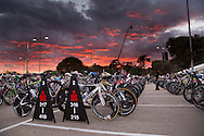Early Morning Red Sunrise Over The Bikes Racked In Transition. Ironman Asia Pacific Championship Melbourne. Triathlon. Frankston And St Kilda, Melbourne, Victoria, Australia. 24/03/2013. Photo By Lucas Wroe