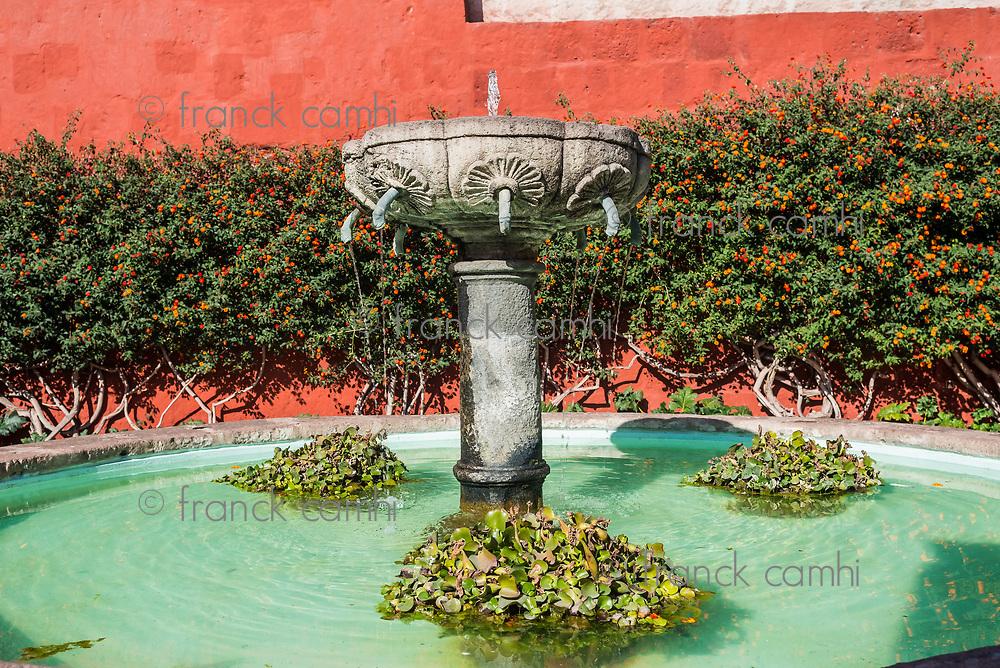 fountain inside Santa Catalina monastery in the peruvian Andes at Arequipa Peru