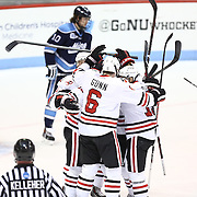Members of the Northeastern Huskies celebrate a goal during the game at Matthews Arena on February 22, 2014 in Boston, Massachusetts. (Photo by Elan Kawesch)