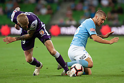 January 19, 2019 - Melbourne, VIC, U.S. - MELBOURNE, VIC - JANUARY 19: Melbourne City midfielder Luke Brattan (26) competes with Perth Glory forward Andy Keogh (9) at the Hyundai A-League Round 14 soccer match between Melbourne City FC and Perth Glory on January 19, 2019, at AAMI Park in VIC, Australia. (Photo by Speed Media/Icon Sportswire) (Credit Image: © Speed Media/Icon SMI via ZUMA Press)
